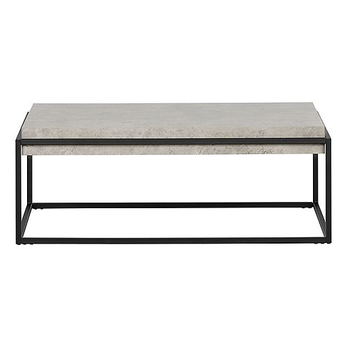 Mezzy Modern Industrial Coffee Table, Concrete Gray and Black