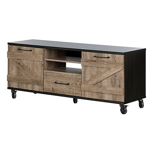 Valet Industrial TV Stand on Wheels , Weathered Oak and Ebony