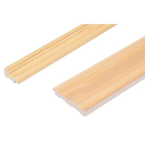 Ensemble de Cimaise et plinthe pour Lambris -préfini Prêt à Installer - Fauxwood YellowPine - 2 pièces de 1/4 pouces par 96 pouces