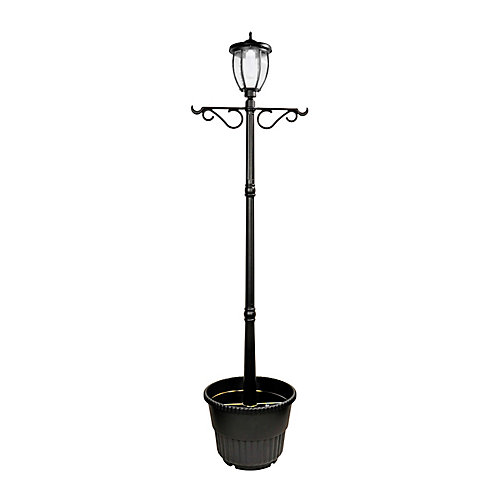 Solar Powered Outdoor LED Lamp Post with Planter