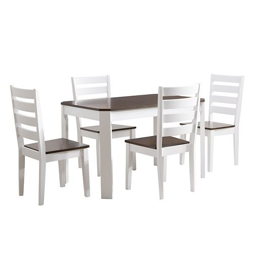 5pc Solid Hardwood Dining Table and Chair Set, White and Brown Duotone
