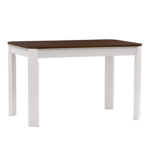 White and Brown Duotone Solid Hardwood Dining Table with Angled Corners