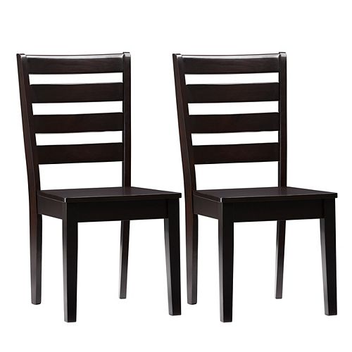 Corliving Mahogany Solid Hardwood Dining Chairs with Horizontal Slats, Set of 2