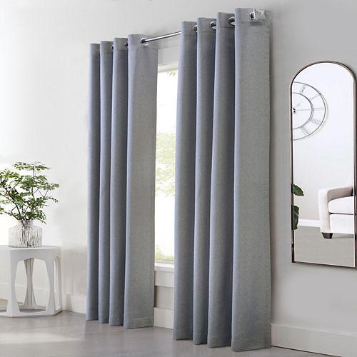 Margaret rideau à oeillets faux lin filtre la lumière 132 cm x 160 cm gris