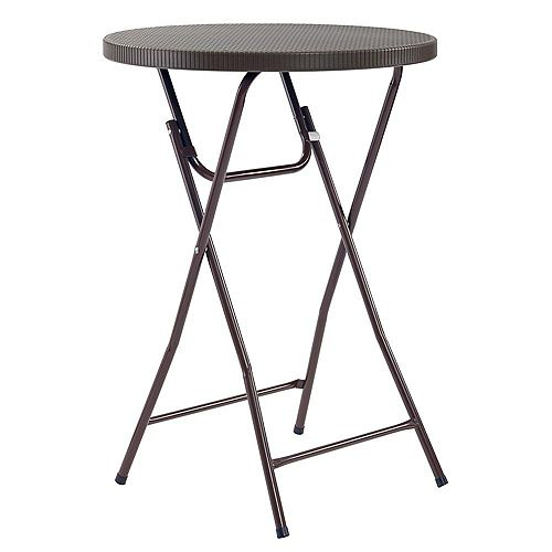 Heavy Duty 2.5 ft. Brown Round Folding Cocktail Table