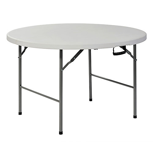 White Plastic 4 ft. Round Fold-in-Half Table