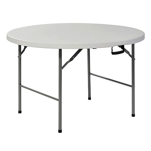 Table pliante ronde en plastique blanc de 4 pi
