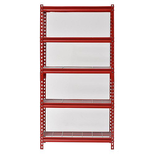 Muscle Rack 60 in. H x 30 in. W x 12 in. D 5-Shelf Z-Beam Boltless Steel Shelving Unit in Red