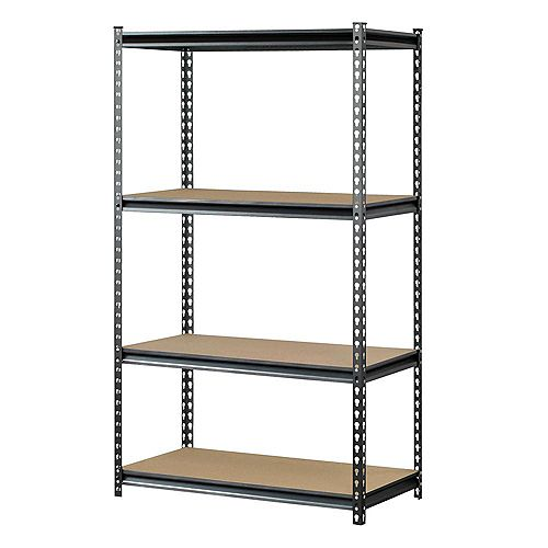 Muscle Rack 60 in. H x 36 in. W x 18 in. D 4 Shelf  Boltless Steel Shelving in SilverVein