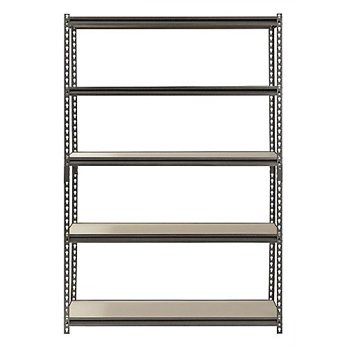 72 in. H x 48 in. W x 18 in. D 5-Shelf Boltless Steel Shelving in SilverVein