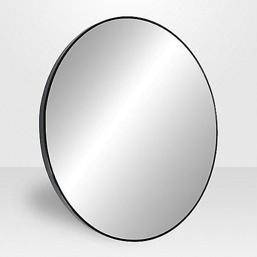 Miroir rond Lily, 31,5po, métal, noir satiné