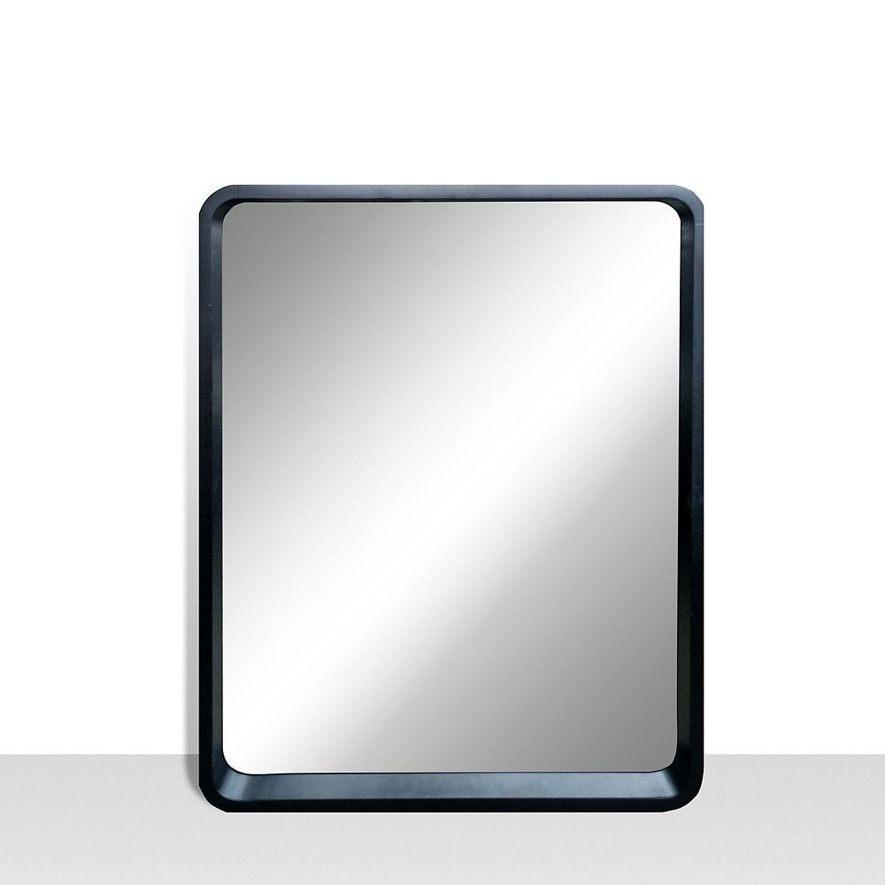 The Tangerine Mirror Company Harmony 25-inch x 31-inch Vanity Mirror with Rounded Corners in Satin Black