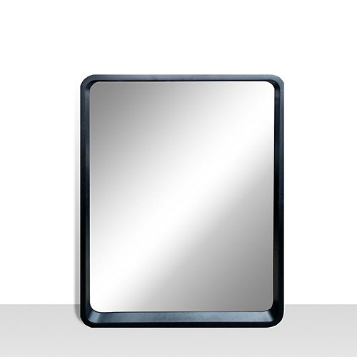 Harmony 25-inch x 31-inch Vanity Mirror with Rounded Corners in Satin Black