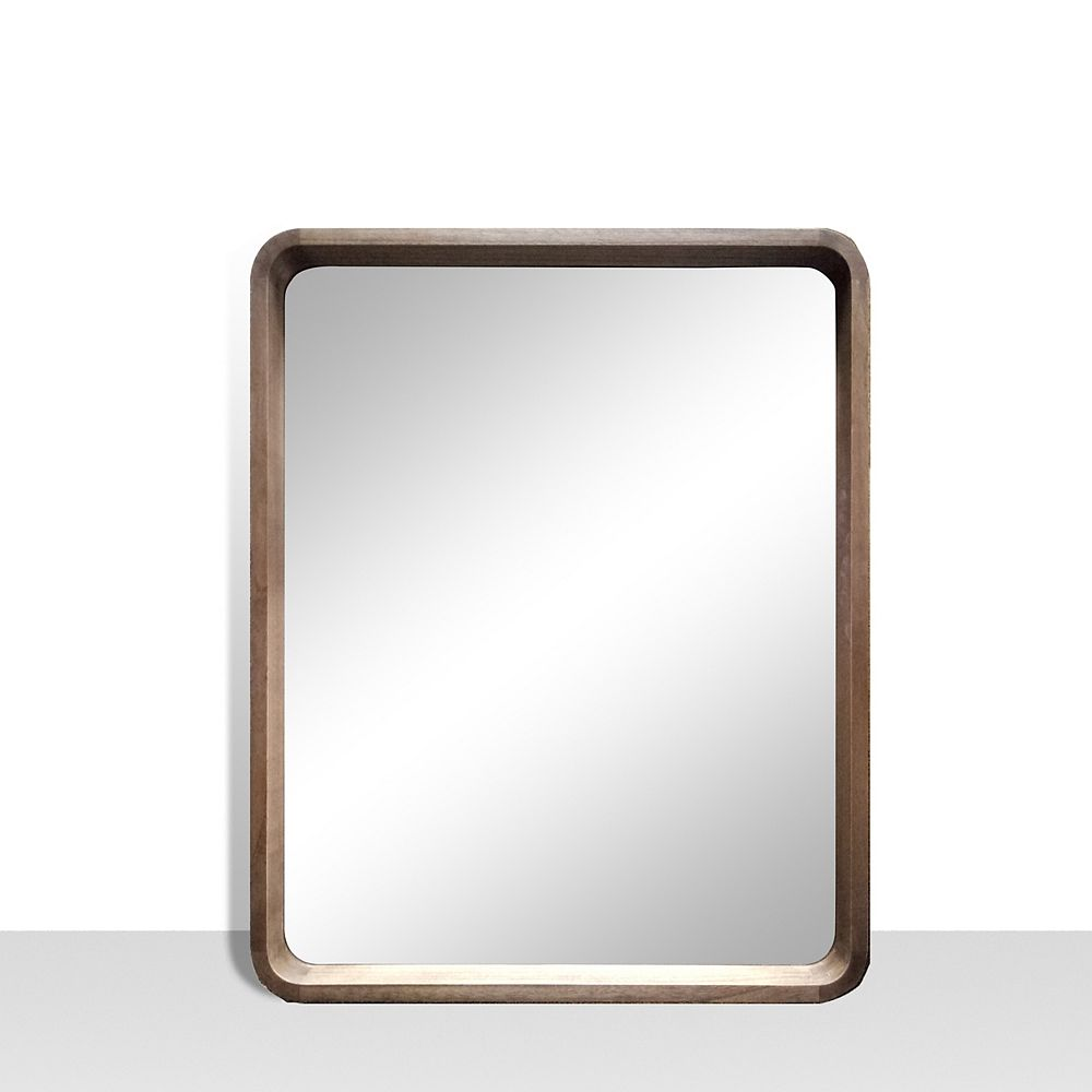 The Tangerine Mirror Company Harmony, Walnut Vanity Mirror with Rounded corners. Genuine Wood,  25 inch x 31 inch