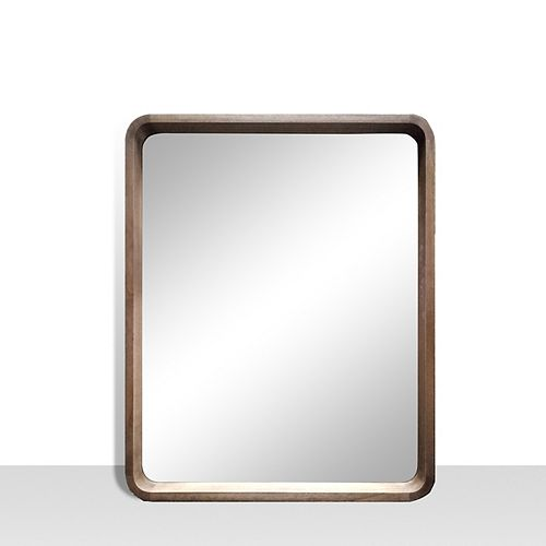 Harmony, Walnut Vanity Mirror with Rounded corners. Genuine Wood,  25 inch x 31 inch