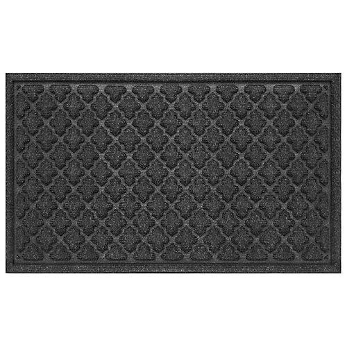 Paillasson intérieur/extérieur rectangulaire aiguilleté Contours à motifs quadrilobés, 18pox30po