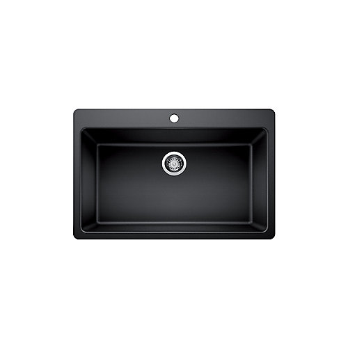 Glacier Bay Single Bowl Undermount Kitchen Sink, Black