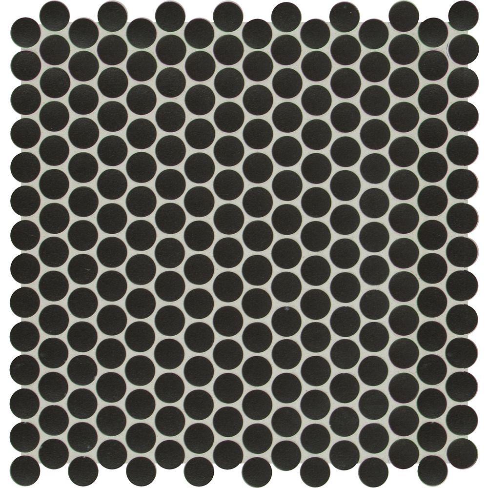 MSI Stone ULC Midnight Penny Glossy 11.81-inch x 11.18-inch x 6mm Porcelain Mesh-Mounted Mosaic Tile