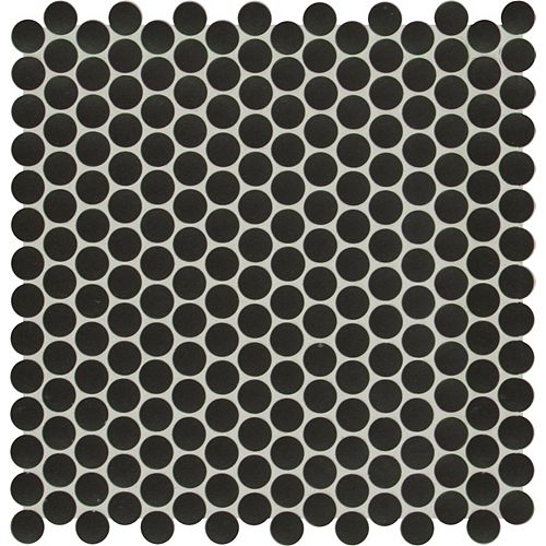 Midnight Penny Glossy 11.81-inch x 11.18-inch x 6mm Porcelain Mesh-Mounted Mosaic Tile