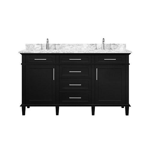 Sonoma 60-inch Black Double Sink Vanity