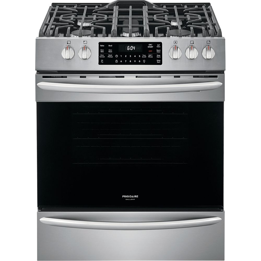 Frigidaire Gallery 30-inch 5.6 cu. ft. Front Control Gas Range with Air Fry in Smudge-Proof Stainless Steel