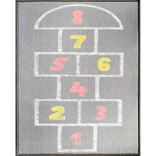 HDG Hopscotch Grey   2 ft. 1.59- inch x 3ft. 8.09-inch Indoor Kids Rug
