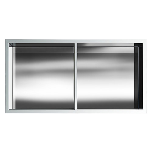 12 in. x 24 in. Stainless Steel Shower Niche with Middle Shelf in Chrome