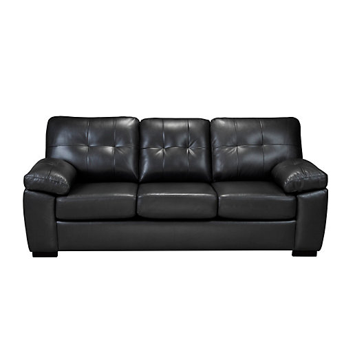 3 Seater Leather Look Sofa in Neptune Charcoal