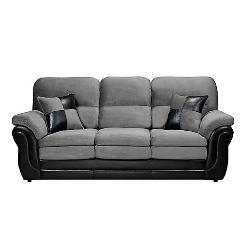 3 Seater Pillow Arm Sofa in Missouri Grey & Pampa Black