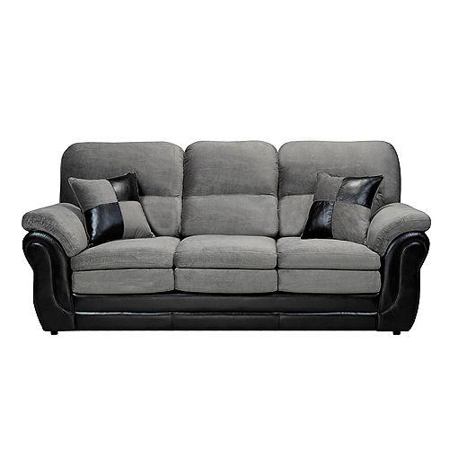 3 Seater Pillow Arm Sofa in Missouri Grey & Pampa Black