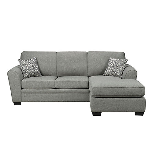 Left-Hand Facing 2 Seater Sofa and Right-Hand Facing Chaise in Fabric Hailey Chrome Grey