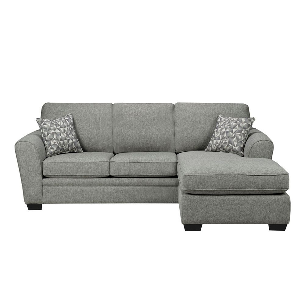 Sofa By Fancy Left-Hand Facing 2-Seater Sofa and Right-Hand Facing Chaise in Fabric Hailey Chrome Grey