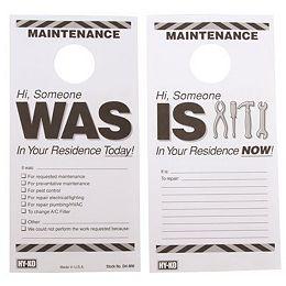 Hy-Ko Étiquette de porte d'entretien réversible en plastique de 7 po X 3-1/2 po (50 par paquet)