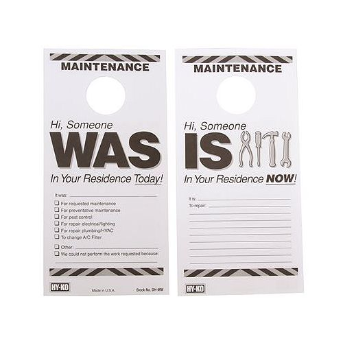 7 -inch X 3-1/2 -inch Plastic Reversible Maintenance Door Hang Tag (50 per pack)