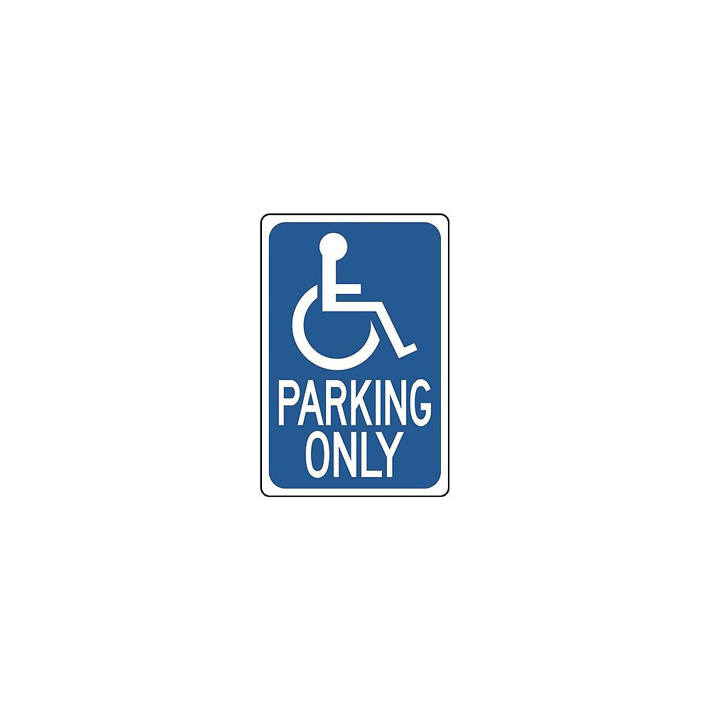 Hy-Ko Handicapped Parking Only Sign, 12 In. X 18 In., .032 Standard Aluminum, 1 Per Pack