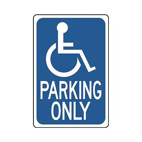 Handicapped Parking Only Sign, 12 In. X 18 In., .032 Standard Aluminum, 1 Per Pack