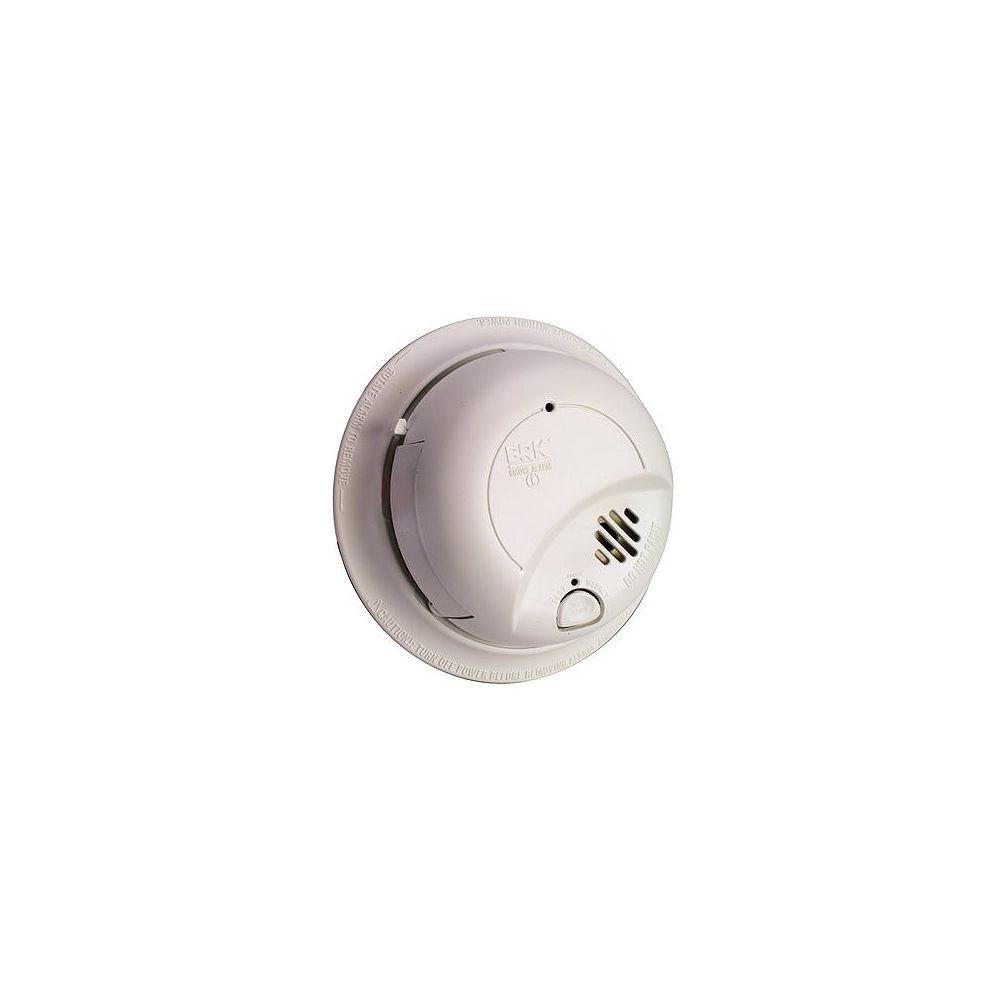 BRK Détecteur d'alarme de fumée à détecteur de fumée à ionisation câblé 120 V Montage parfait avec batterie de secours