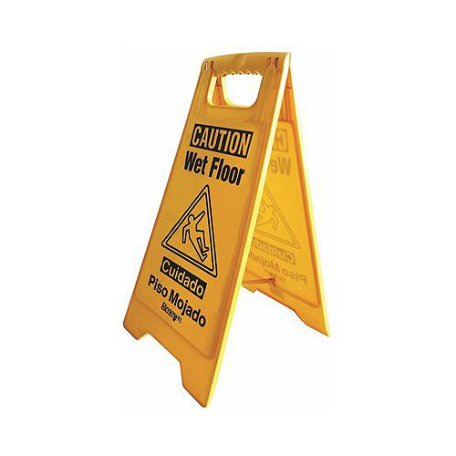 25-inch Caution Wet Floor Sign, English and Spanish in Yellow