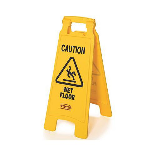 25 -inch X 11 -inch Plastic 2-Sided Caution Wet Floor Sign