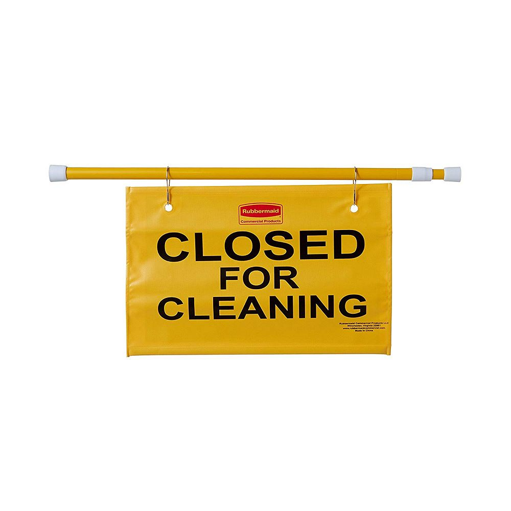 Rubbermaid Commercial Products Hanging Site Safety Sign With Closed For Cleaning Imprint, Yellow