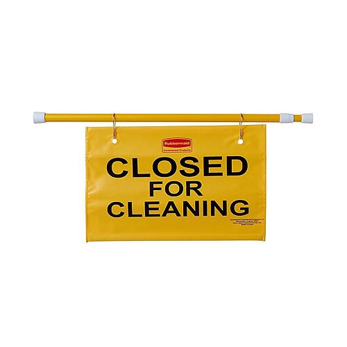Hanging Site Safety Sign With Closed For Cleaning Imprint, Yellow