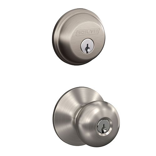 Schlage Plymouth Satin Nickel Keyed Entry Knob with Single Cylinder Deadbolt Combo