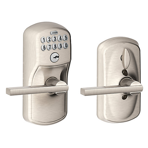 Latitude Satin Nickel Keypad Electronic Door Lever with Plymouth Trim Featuring Flex Lock