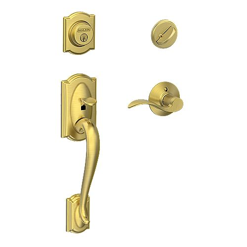 Schlage Camelot Single Cylinder Handleset and Accent Lever Gold