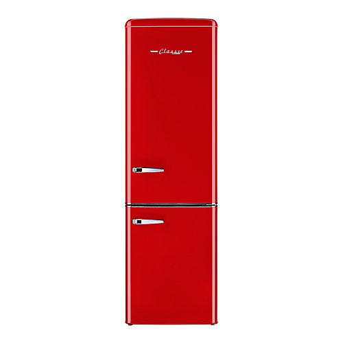 Réfrigérateur, 9 cu/pi, congélateur en bas rétro de 21,6 po, rouge
