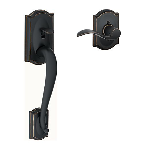 Poignée de porte inférieure Camelot, noir mat, avec levier d'appoint