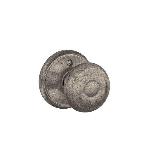 Georgian Distressed Nickel Inactive Non-Turning Door Knob
