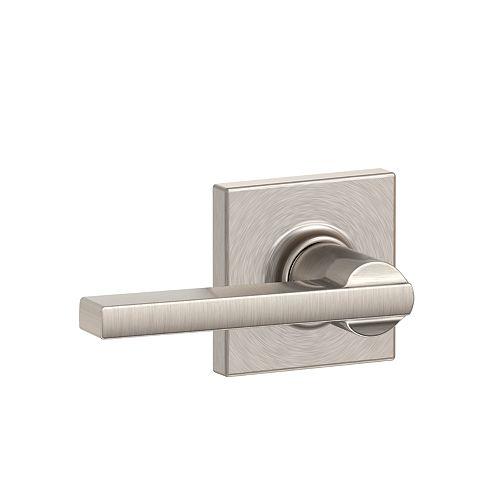 Latitude Serrure Avecvier De Porte Non Verrouillable Pour Couloir & Placard Avec Bordure Collins En Nickel Satiné