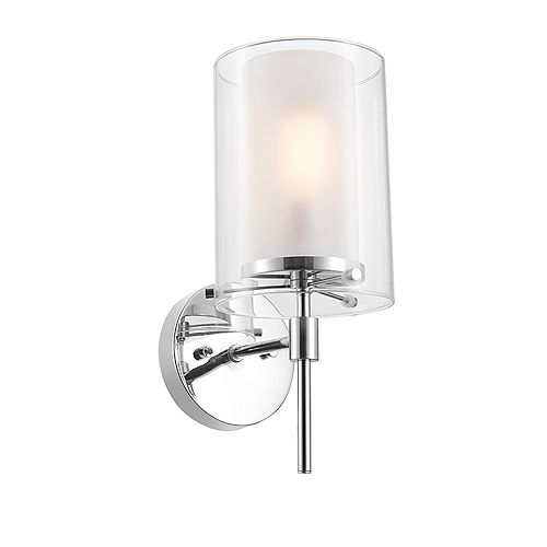 Globe Electric Evelina 1-Light Chrome Wall Sconce with Clear Glass Outer Shade and Frosted Glass Inner Shade