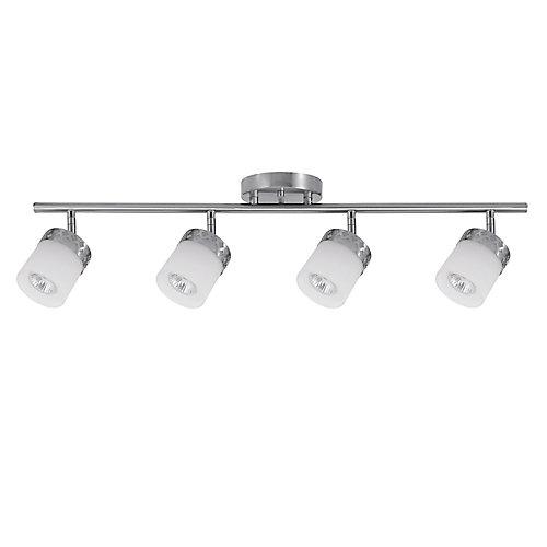 Rail d'éclairage à 4 lumières, collection Hanrahan, acier brossé